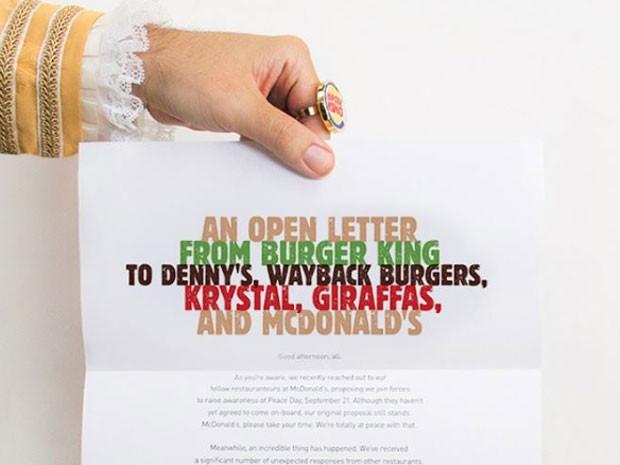 5d752d09480 Burger King estende convite de criação do hamburguer da paz a outras redes  (Foto