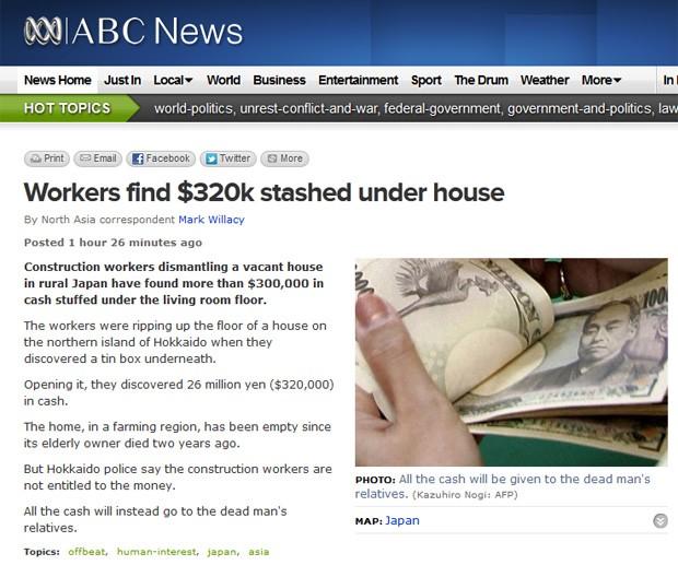 Operários encontraram quantia escondida embaixo do piso da casa (Foto: Reprodução/ABC)