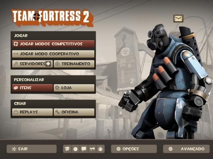 Tela Principal de Team Fortress 2 (Foto: Reprodução/Paulo Vasconcellos)