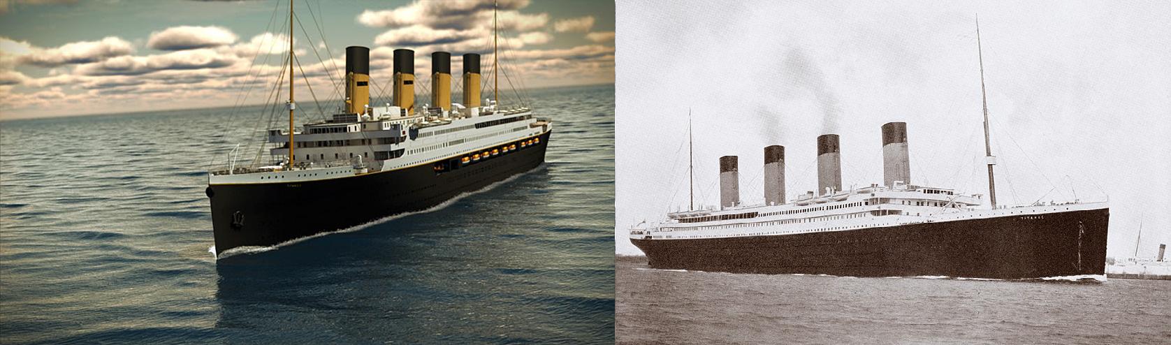 Titanic II e o Titanic original (FOTO: DIVULGAÇÃO)