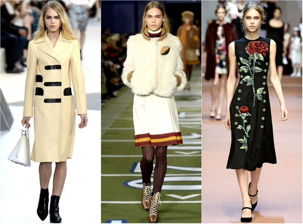 MODA - Line Brems, a nova Cara Delevingne, nos desfiles de Louis Vuitton, Tommy Hilfiger e Dolce & Gabbana (Foto: Getty Images)