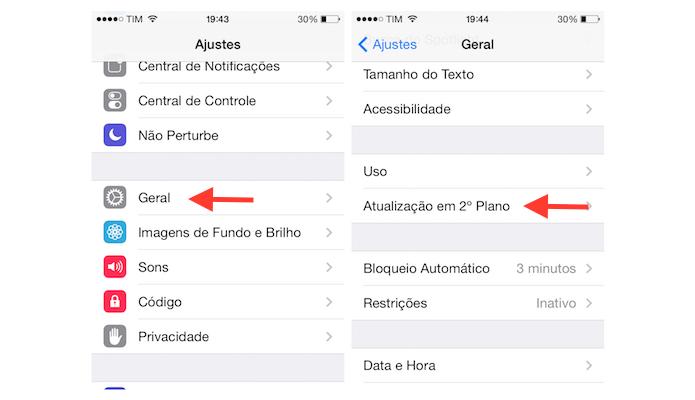 Acessando as configurações de atualizações de aplicativos em segundo plano do iOS 7 no iPhone 4 (Foto: Reprodução/Marvin Costa)