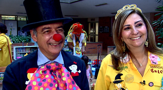 Jamiro Wanderley e Sueli Campos Lopes levam, juntos, alegria aos pacientes (Foto: reprodução EPTV)
