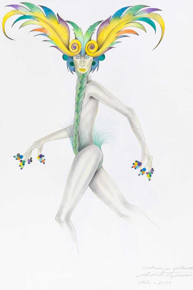 """""""Homage to Nureyev"""", costume sketch by Roberto Capucci, October 2009 (Foto: ROBERTO CAPUCCI)"""