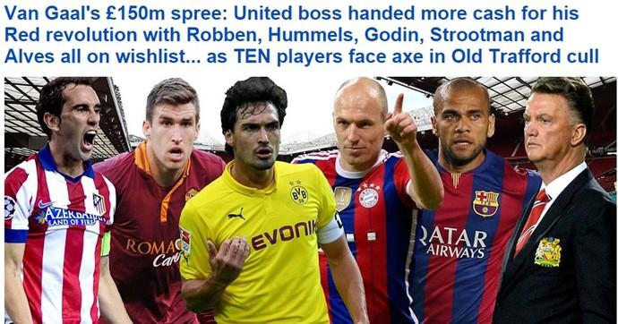 Daniel Alves no pacote de reforços do United (Foto: Reprodução / Daily Mail)