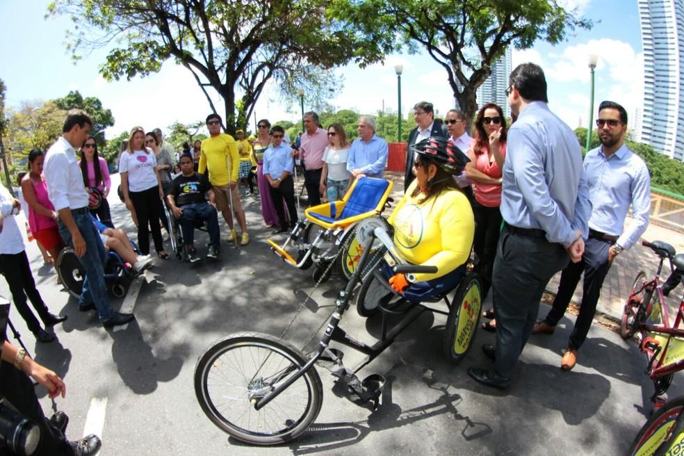 Projeto de biciletário inclusivo foi lançado no Recife nesta quarta (14) (Foto: Marlon Costa/Pernambuco Press)