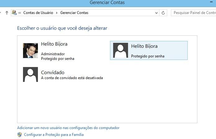 Clique sobre a conta de usuário que deseja alterar o tipo (Foto: Reprodução/Helito Bijora)