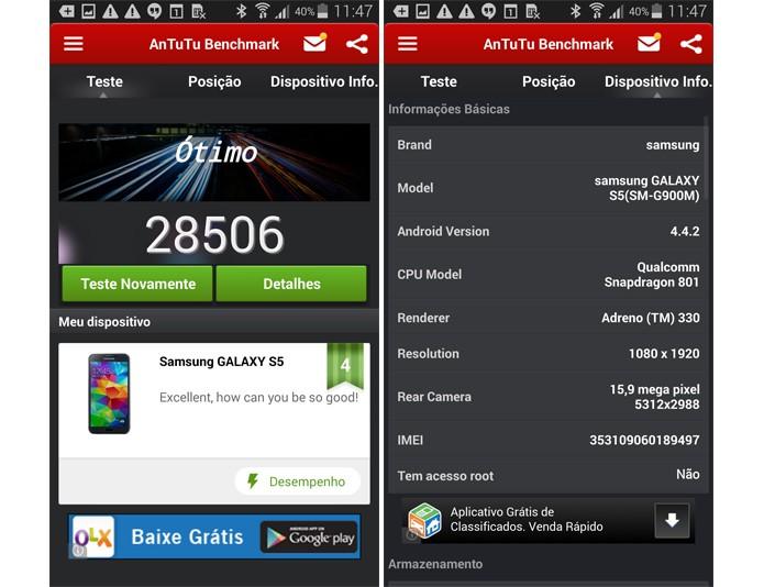 Benchmark do Galaxy S5 via AnTuTU (Foto: Reprodução)