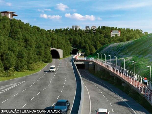 Imagem do projeto do novo túnel do Joá mostra a ciclovia ao lado direito de quem vai para a Zona Sul (Foto: Foto: Prefeitura do Rio/Divulgação)