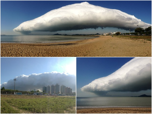 Nuvem gigante vista da praia de Camburi, em Vitória (Foto: Ana Clara Fonseca/ Arquivo Pessoal)