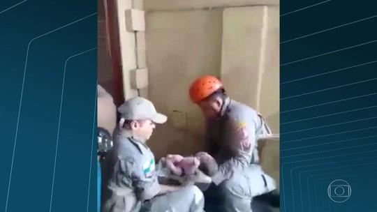 Vídeo mostra resgate de recém-nascido em shopping no RJ