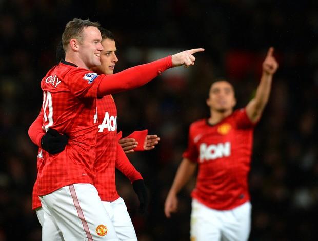 Rooney e Javier Hernandez gol Manchester United (Foto: AFP)