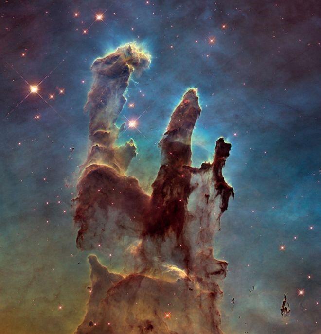 Nova imagem dos pilares tem ângulo mais aberto e resolução duas vezes maior que a original (Foto: NASA, ESA/Hubble e Hubble Heritage Team)