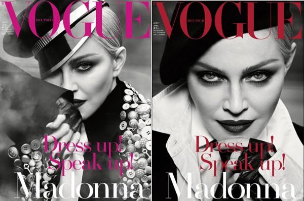 As outras duas versões da capa de abril da Vogue alemã, com Madonna (Foto: Reprodução)