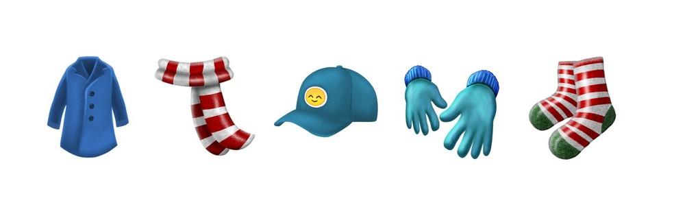 Emoji 5.0 chega com roupas preparadas para o inverno (Foto: Reprodução/Emojipedia)