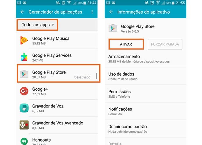 Encontre a Google Play Store na lista e ative novamente no Android (Foto: Reprodução/Barbara Mannara)