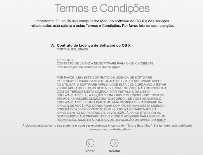 Concorde com os termos de licença de software da Apple (Foto: Reprodução/Helito Bijora)