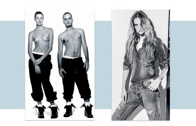 Lara Gerin com Fabiano Araújo, em foto publicada pela Vogue Brasil em 1994 e, ao lado, Carol Trentini por Jacques Dequeker para o inverno 2014 da marca (Foto: Divulgação )