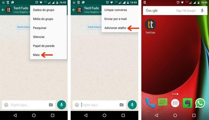 Atalho de conversa do WhatsApp na tela inicial do Android (Foto: Reprodução/Raquel Freire)