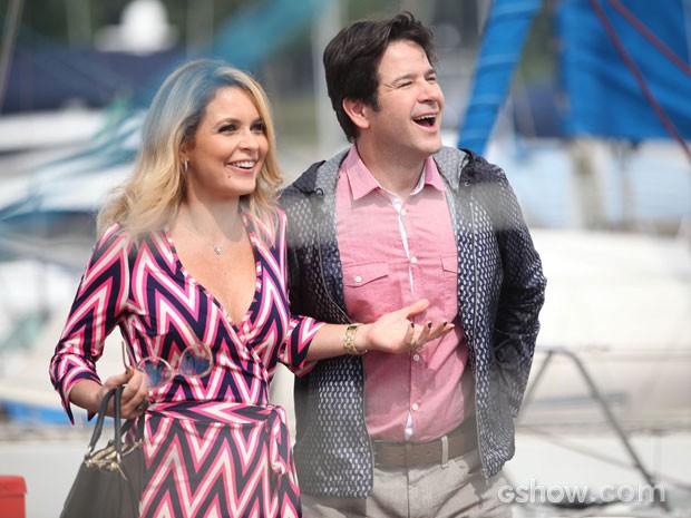 Cláudia Abreu e Murilo gravam na Zona Sul do Rio (Foto: Pedro Curi/TV Globo)