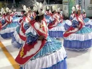 Grupo de Acesso abriu os desfiles de Santos, SP (Foto: Reprodução/TV Tribuna)