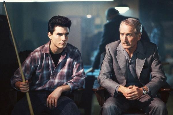 Tom Cruise ao lado de Paul Newmn em A Cor do Dinheiro (1986) (Foto: Reprodução)