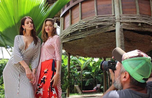 Ana Beatriz Barros e Amanda Wellsh no making of da Cantão (Foto: Divulgação)