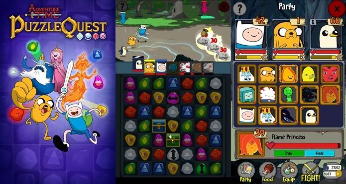 Dos produtores de Puzzle Quest, game com personagens de Hora de Aventura é um dos melhores do gênero (Foto: Divulgação)