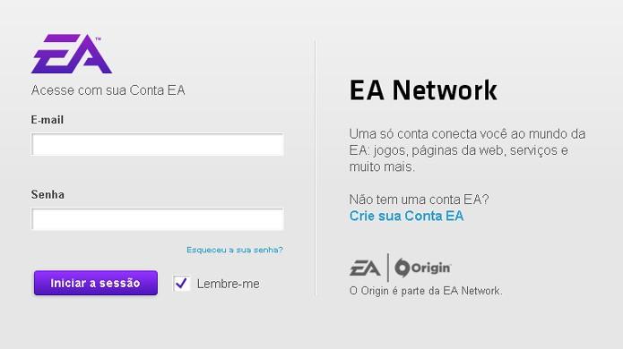 Faça login com sua conta da EA para se inscrever na beta de Battlefield 1 (Foto: Reprodução/Rafael Monteiro)