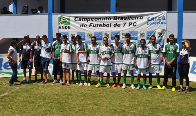 Equipe do Caira, vice-campeã brasileira de futebol de 7 paralímpico (Foto: Edson Cavalli)