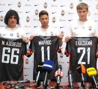 apresentação Marcio Azevedo e Marlos, Shakhtar Donetsk (Foto: Reprodução / Site Oficial)
