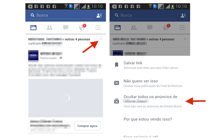 Usando a opção para ocultar um anúncio no Feed de Notícias do Facebook pelo Android (Foto: Reprodução/Marvin Costa)