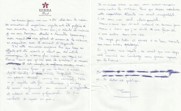 """Carta divulgada pela produtora Adventure Line Production, com mensagem de suicídio de Thierry Costa, médico francês que trabalhava no programa """"Koh Lanta"""", no qual um participante morreu (Foto: AFP / Adventure Line Productions)"""