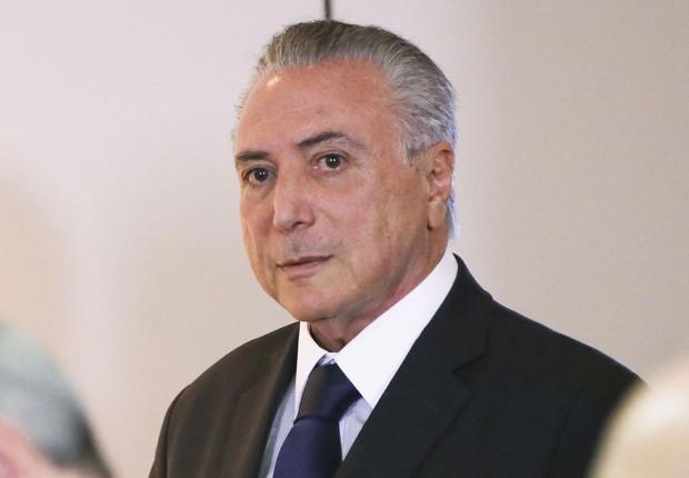 O presidente em exercício Michel Temer em reunião no Ministério da Justiça (Foto: Marcelo Camargo/Agência Brasil)