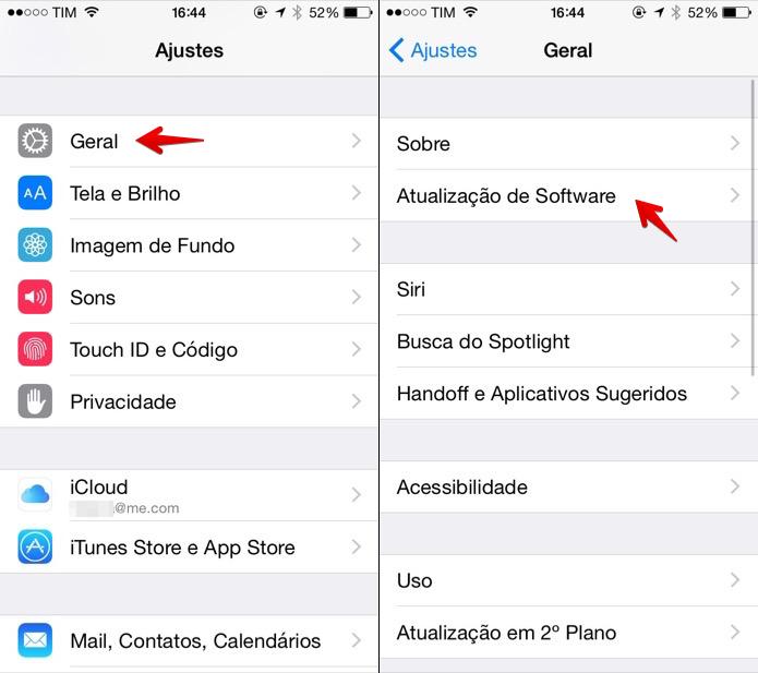 Acesse as configurações do iOS (Foto: Reprodução/Helito Bijora) (Foto: Acesse as configurações do iOS (Foto: Reprodução/Helito Bijora))