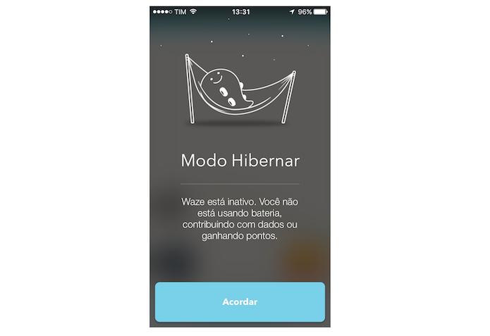 Waze para iPhone no modo de hibernação (Foto: Reprodução/Marvin Costa)