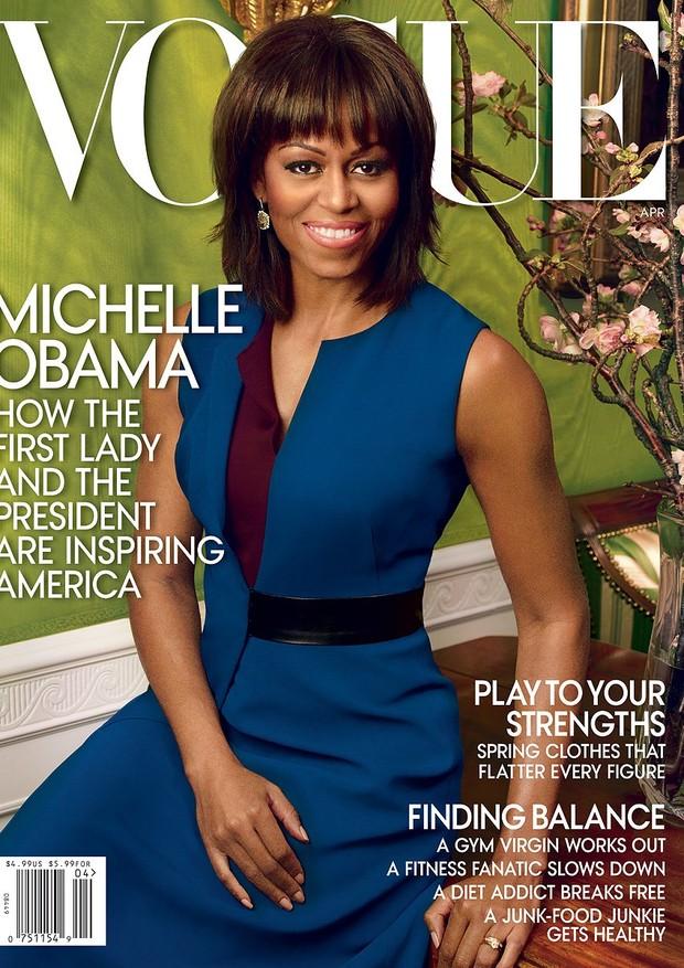 Quatro anos depois, em abril de 2013, Michelle volta à capa da Vogue US (Foto: Reprodução / Vogue US)