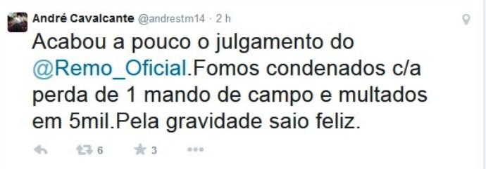 André Cavalcante (Foto: Reprodução/ Twitter)
