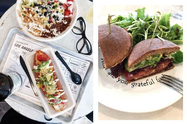 #veganfoodshare: algumas das delícias gastronômicas descobertas em LA. À esquerda, os pratos rápidos da (foférrima) Eat By Chloe e o hamburguer de grãos e queijo de castanha do Cafe Gratitude. Hmmm  (Foto: Divulgação)