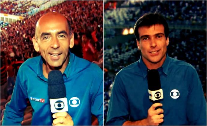 Régis Rösing e Thiago Asmar estiveram nas arquibancadas do Maracanã e do Mineirão (Foto: Reprodução TV Globo)