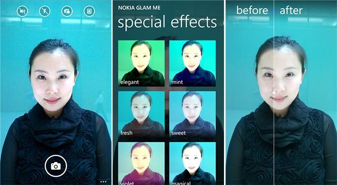 Nokia Glam Me oferece diversas opções e filtros para os amantes dos selfies (Foto: Divulgação/Windows Phone Store)