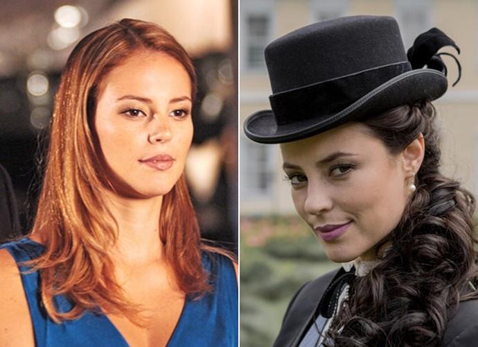 À esquerda, Paolla Oliveira como Giovanna em Belíssima e, à direita, na pele da vilã Melissa de Além do Tempo (Foto: Márcio de Souza / TV Globo / Fábio Rocha / Gshow)