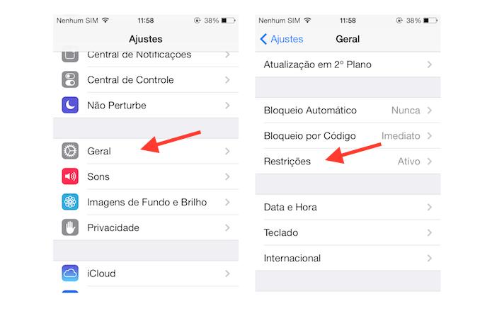 Acessando as restrições do iOS para bloquear a câmera do aparelho (Foto: Reprodução/Marvin Costa)