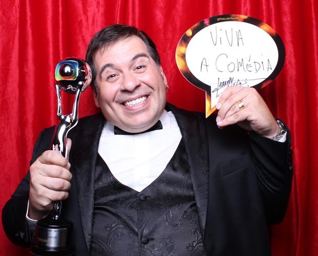 'Viva a comédia!', escreveu Leandro Hassum no balãozinho  (Foto: Domingão do Faustão/TV Globo)