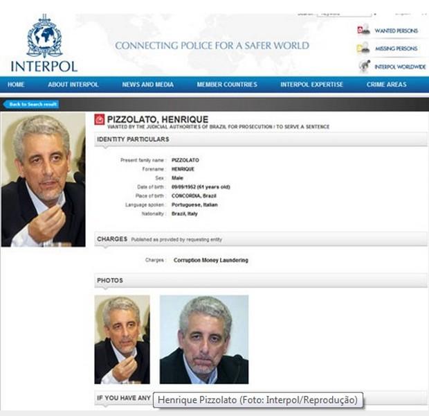 Ficha de Henrique Pizzolato no site da Interpol (Foto: Reprodução)