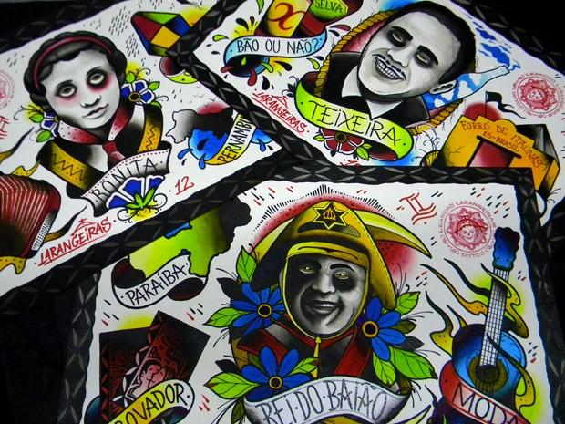 Artista produziu seis peças com desenhos 'old schools' em homenagem ao centenário de Luiz Gonzaga (Foto: Leandro Larangeiras / Divulgação)