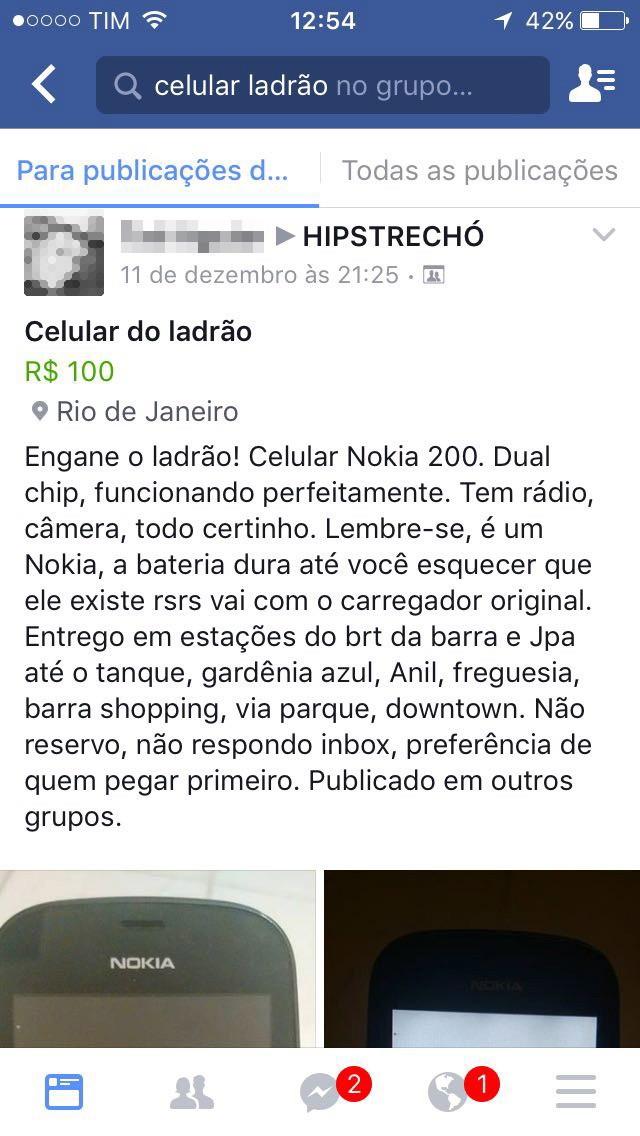 """Anúncio de """"celular do ladrão"""""""