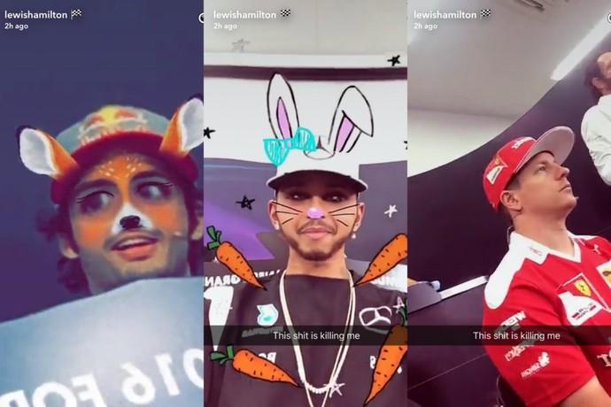 Lewis Hamilton brinca com snapchat durante coletiva de imprensa da Fórmula 1 (Foto: Reprodução)