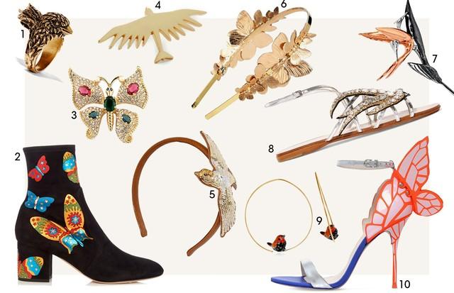 Acessórios borboletas e pássaros (Foto: Reprodução)
