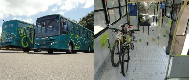 Ônibus BikeGV: exterior e interior (Foto: Divulgação/ Governo do Estado)